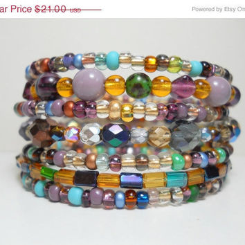 ON SALE Memory Wire Bracelet Oceanside Blue and Purple Stacked Beaded Wrap