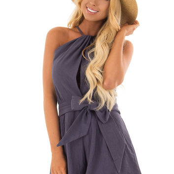 Navy Halter Romper with Waist Tie Detail