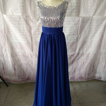 Dark Royal Blue Prom Dress, Scoop Neckline Sequins Bodice V-back Floor Length Elegant Party Dress FN368