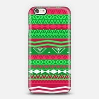 Christmas Aztec Red Green Geometric Pattern iPhone 6 case by Girly Trend | Casetify