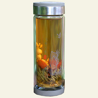 9.8 oz Thermal, Double Wall Glass Water Bottle with Stainless Steel Tea Filter b - Water Bottles - reuseit.com