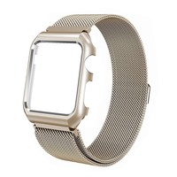 Stainless Steel Mesh Milanese Loop Compatible for Apple Watch Band with Case 38mm, Adjustable Magnetic Closure Replacement Wristband iWatch Band for Apple Watch Series 3 2 1 - Gold