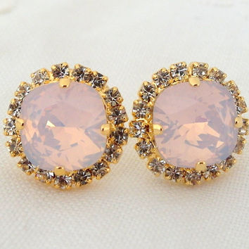 Pink opal Swarovski stud earrings, Bridal earrings, Pink rhinestone stud earrings, Bridesmaid jewelry, Pink blush, Crystal stud earrings,