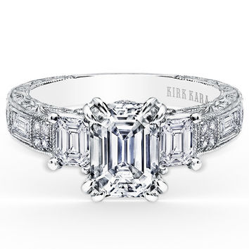 "Kirk Kara ""Charlotte"" Emerald Cut Three Stone Diamond Engagement Ring in 18kt White Gold."