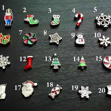 Christmas Floating Charms-For Floating Lockets-Toy Soldier-Stockings-Snowflakes-Peppermint Candy-Winter 2014