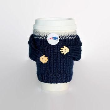 New England Patriots coffee cozy. NFL Patriots jersey. Blue grat. Mug sweater. Travel