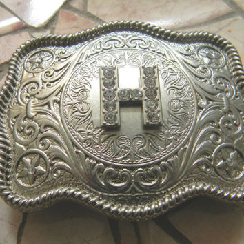 Monogram Letter H Personalized Silver Belt Buckle, Rhinestone Initial H Monogrammed Womens Mens Kids Western Belt Buckle, Custom Belt Buckle