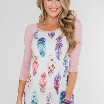 Aztec Feather 3/4 Sleeve Top- Dusty Pink
