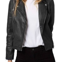 Topshop 'Orbit' Leather Moto Jacket | Nordstrom