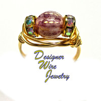 DWJ0416 Beautiful Pink Jasmine Picasso Gold Wire Wrap Ring All Sizes