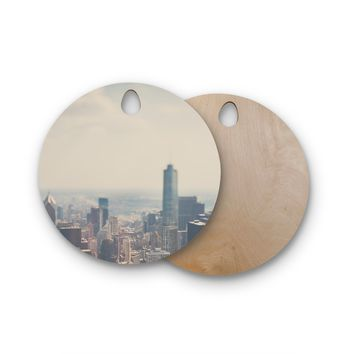 "Laura Evans ""Chicago From Above"" Blue Multicolor Photography Round Wooden Cutting Board"