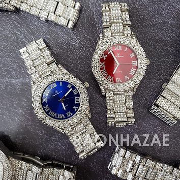 Raonhazae Silver Hip Hop Iced Lab Diamond Meek Mill Drake Blue / Red Face 14K White Gold Plated Watch with 12mm Cuban Link Bracelet Set