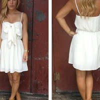 Cream Sleeveless Dress with Bow Front & Scoop Back