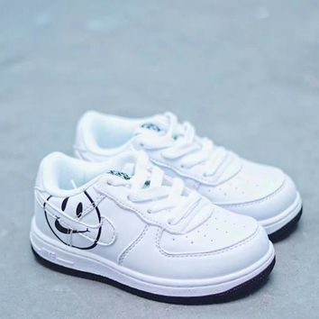 HCXX 19Aug 840 Nike Air Force 1 Kid HAVE A NIKE DAY SMILEY FACE LOGOS Low Sneaker Casual Fashion Skateborad Shoes
