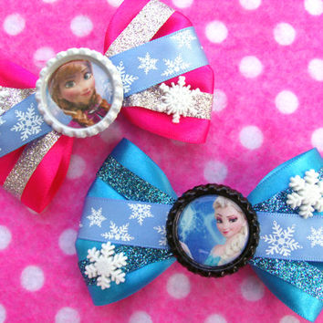 Disney Frozen Elsa Anna Christmas Hair Bows