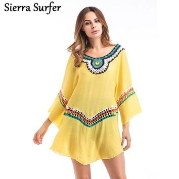 Beach Cover Up Tunics For Saida De Praia 2018 Kaftan Dress New Big Yards Loose Bamboo Cotton Maios Toalla Pareo Playa Serviette