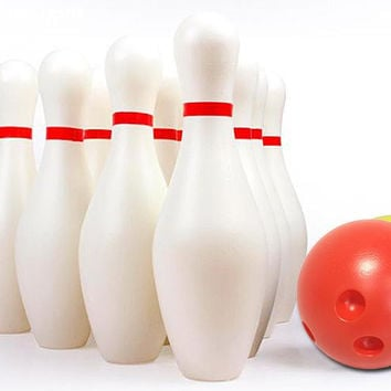 12 Piece kids Bowling Set / 10 Pins, 2 Bowling Balls white Children Kids Educational Toy Party Fun Family Game (Large)