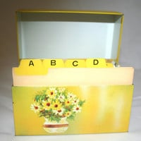 Vintage Recipe Box and Cards Yellow Ohio Art Recipe Index Set Floral Daisies Tin Recipe File Metal Recipe Box Vintage Recipe Cards Gift Idea