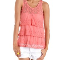Embroidered Tiered Mesh Tank: Charlotte Russe