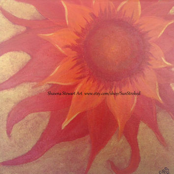 PRINT, Radiantly Red, abstract acrylic energy painting, Shawna Stewart art, Free shipping, root chakra, floral, flower