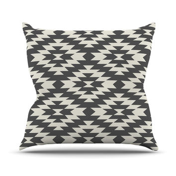 "Amanda Lane ""Southwestern Black Cream"" Tribal Geometric Outdoor Throw Pillow"