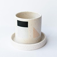 Small Planter with Attached Saucer - Blocks