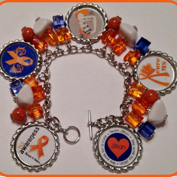 Multiple Sclerosis Awareness Unique Custom Charm Bottle Cap Bracelet Customized with your Team Logo Womens Jewelry