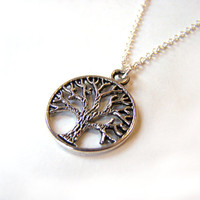 Pewter Tree of Life Pendant Sterling Silver Necklace / Gift for Her