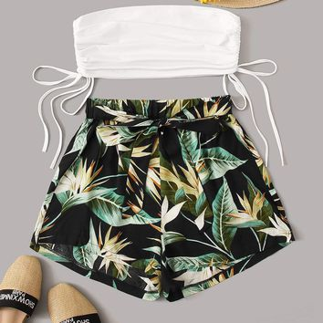 Drawstring Side Bandeau With Leaf Print Tie Front Shorts