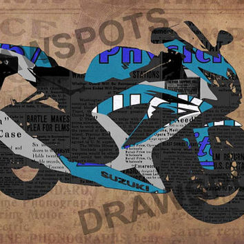 Blue Suzuki Motorcycle And The News, Art Print 12x7.50in to 60x41in, Motorcycle Art print, big size print, large wall print, office decor