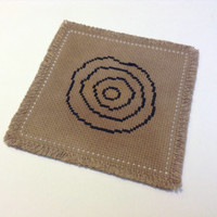 Handmade fabric coaster Tea dyed coaster Cross stitch fabric coaster Square coaster with Circles