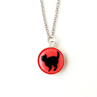 Cat Necklace, Black Cat and Pink Resin Pendant, Handmade Cabochon, Cat Jewelry, Resin Jewelry, Animal Pet (1801)