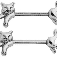Nipple Shield Rings barbell barbells sold as a pair 14 gauge cat CH51