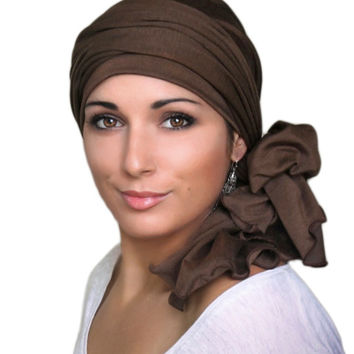 Dark Olive Jersey Turban, Head Wrap, Alopecia Scarf, Chemo Hat and Scarf Set