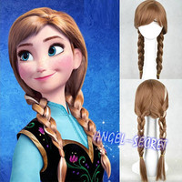 wg14 movie Frozen Anna Custom Wig Cosplay Costume Snow Queen Anime brown hair1