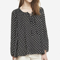 SMOCKED YOKE TRAPEZE BLOUSE from EXPRESS