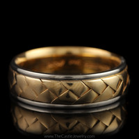 Braided Design 7mm Wedding Band in 14K Yellow Gold