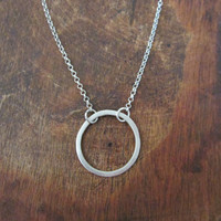 Sterling Silver Circle Necklace, Infinity Karma Pendant,  Minimal Geometry Jewelry