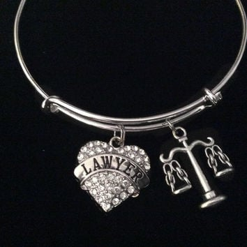 Lawyer Scales of Justice Silver Expandable Charm Bracelet Adjustable Bangle Trendy Gift