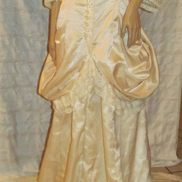 Handmade Victorian Steam punk Wedding Gown! Medium/Women's/Misses/Pearled Silk/Renaissance Princess/Medieval Gown/Bridal Gown/Reenactment