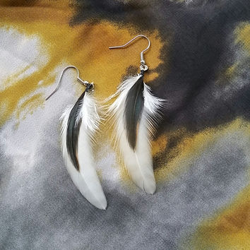 White and Black Feather Earrings
