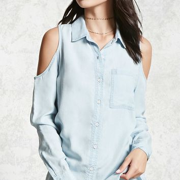 Open-Shoulder Chambray Shirt