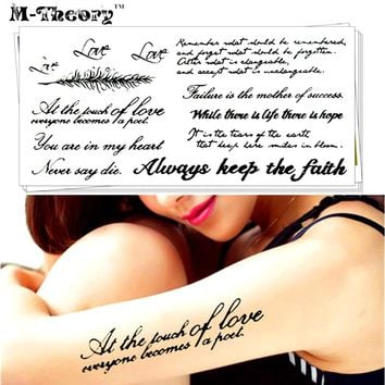 Sexy Tattoo Stickers Water Transfer Temporary Body Art Waterproof 3-5 Days Retro Love Words Designs