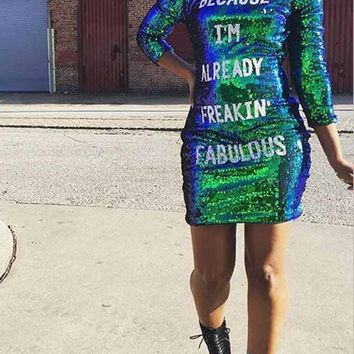 "New Green""BECAUSE I AM ALREADY FREAKIN FABULOUS"" Patchwork Sequin Long Sleeve Bodycon Sparkly Glitter Birthday Party Mini Dress"
