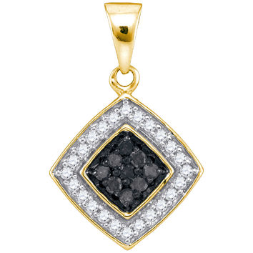 Black Diamond Micro-pave Pendant in 10k Gold 0.25 ctw