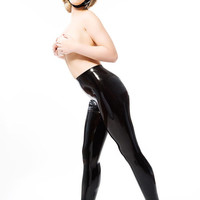 GHISLAINE Skin Tight Latex Rubber Leggings