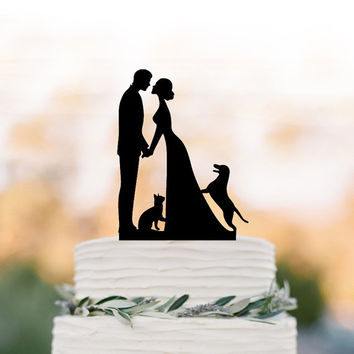 Wedding Cake topper with Cat and with dog. Cake Topper with bride and groom silhouette, funny wedding cake topper, family cake topper