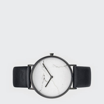 Stone Watch - white stone/black leather