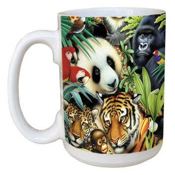 Tiger Panda Mug - Large 15 oz Ceramic Coffee Mug