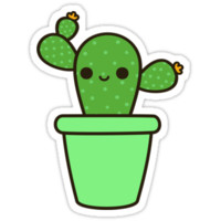 Cute cactus in green pot by peppermintpopuk